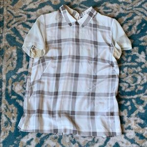 French connection silk plaid blouse